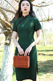 Green Linen Mid Cheongsam / Qipao Dress
