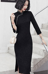 Pearl Black Winter Mid Winter Cheongsam / Qipao Dress