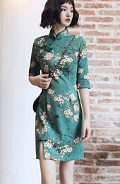 Micro Suede Green Floral Winter Qipao / Cheongsam Dress