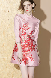 Red Pink Floral Winter Pocket Qipao / Cheongsam Dress