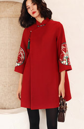 Red Embroidered Wool Blend Women Chinese Tang Coat