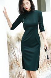 Green Stretchy Knit Winter Cheongsam / Mid Qipao Dress