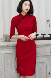 Red Stretchy Knit Winter Cheongsam / Mid Qipao Dress