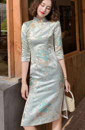 Woven Floral Winter Mid Winter Cheongsam / Qipao Dress