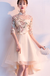 Champagne High Low Hem Qipao / Cheongsam Bridesmaid Dress