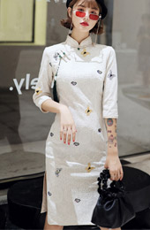 White Lace Embroidered Butterfly Qipao / Cheongsam Party Dress