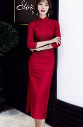 Wine Red Lace Long Sleeve Qipao / Wedding Cheongsam Dress