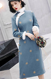 Blue Embroidered Wool Blend Qipao / Winter Cheongsam Dress