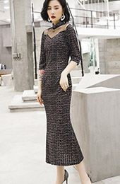 Gray Grid Velvet Fishtail Qipao / Cheongsam Dress