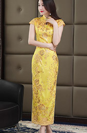 Gold Sequined Long Qipao / Cheongsam Wedding Dress