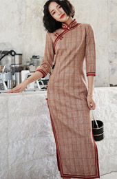 Pink Plaid Long Qipao / Winter Cheongsam Dress