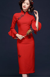 Red Frill Sleeve Tea-Length Qipao / Wedding Cheongsam Dress