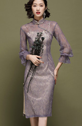 Purple Illusion Lace Midi Qipao / Cheongsam Dress