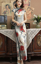 Floral Printing Long Qipao / Cheongsam Party Dress