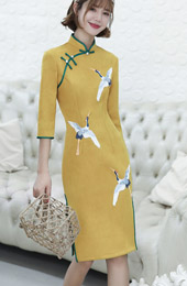 Yellow Micro Suede Qipao / Cheongsam Party Dress