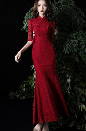 Wine Red Lace Mermaid Long Qipao / Wedding Cheongsam Dress