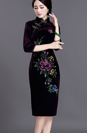 Velour Midi Qipao / Cheongsam Evening Dress with Half Sleeve