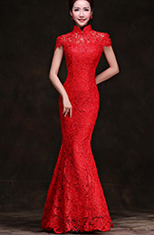 Red Lace Floor Length Mermaid Cheongsam / Qipao Wedding Dress
