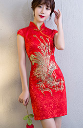 Red Short Phoenix Qipao / Cheongsam Wedding Dress