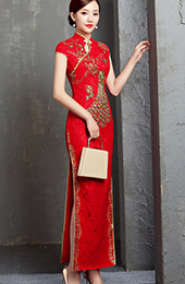 Ankle-length Lace Cheongsam / Qipao Wedding Dress