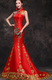 Red Embroidered Trumpet Mermaid Wedding Qipao / Cheongsam Dress