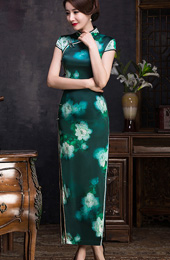 Green Peony Floral Qipao / Cheongsam Maxi Dress