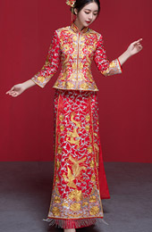 Wedding Qun Gua with Embroidered Phoenix & Dragon