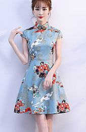 Blue Printed A-Line Qipao / Cheongsam Party Dress