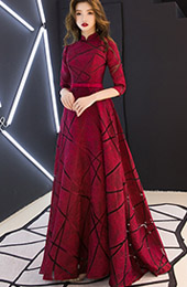 Wine Red A-Line Floor-length Qipao / Cheongsam Wedding Dress