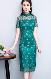 Green Red Lace Midi Qipao / Cheongsam Party Dress