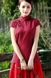 Green Red Short Sleeve Chinese Qipao / Cheongsam Shirt
