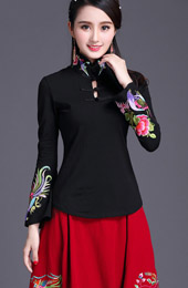 Embroidered Black White Qipao / Cheongsam Blouse Top