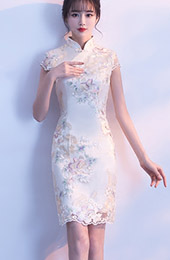 Embroidered Short Modern Qipao / Cheongsam Party Dress