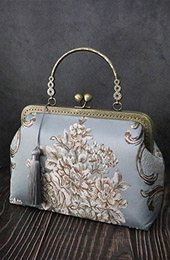 Blue Woven Floral Chain Strap Top Handle Bag