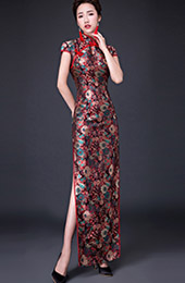 Custom Made Blossoms Cheongsam / Qipao Evening Dress