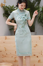 Pink Green Embroidered Cheongsam / Qipao Party Dress