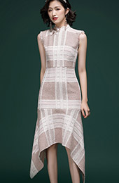 Check Fluted Hem Qipao / Cheongsam Dress