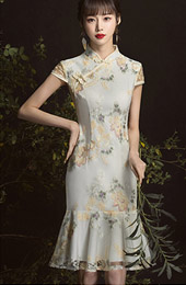 Jacquard  Frill Hem Short Qipao / Cheongsam Party Dress