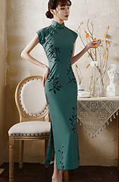 Green Floral Maxi Cheongsam / Qipao Party Dress