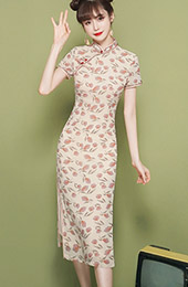 2020 Floral Tea-Length Qipao / Cheongsam Dress
