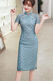 Blue Black Lace Summer Qipao / Cheongsam Party Dress