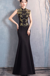 Sequins Black Fishtail Qipao / Cheongsam Evening Dress