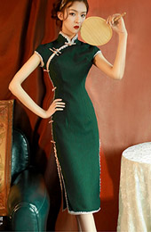 Summer Green Midi Modern Qipao / Cheongsam Dress