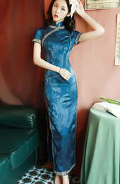 Long Cheongsam / Qipao Party Dress in Dragon Print