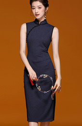 Blue Midi Traditional Qipao / Cheongsam Dress