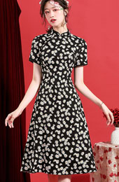 Black A-Line Modern Qipao / Cheongsam Dress in Daisy Print