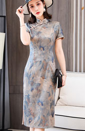Shimmer Floral Modern Midi Qipao / Cheongsam Party Dress