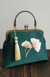 Handmade Green Embroidered Chain Top Handle Clutch Bag