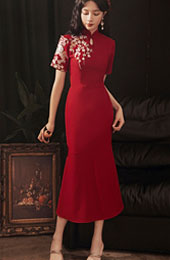 Burgundy Embroidered Qipao / Cheongsam Wedding Dress with Ruffle Hem