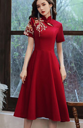 Burgundy Embroidered Midi A-Line Qipao / Cheongsam Wedding Dress